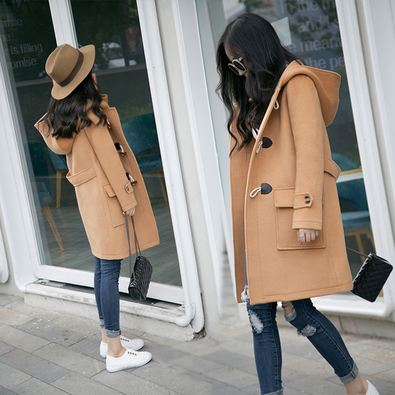 Ox horn button wool coat female mid autumn and winter long loose and thin Korean hooded thickened woolen coat student