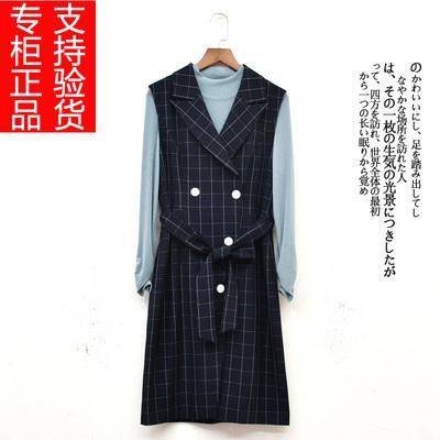 陌绯JR2538锦缤2021春新款套装两件套格子马甲西装连衣裙莱瑞蒂娜