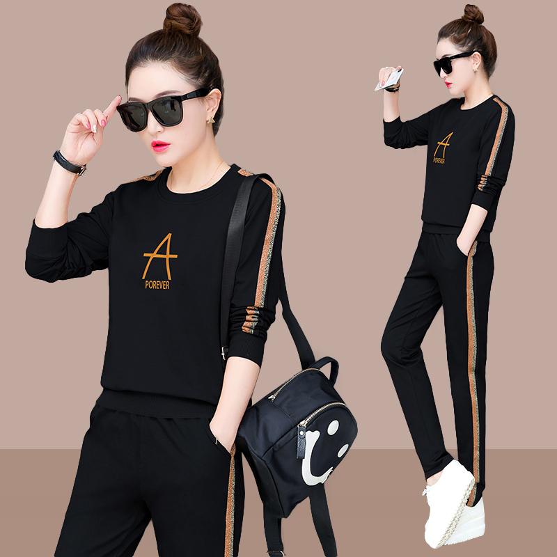 2020春季新款韩版时尚大码休闲运动服套装女春秋两件套长袖宽松潮