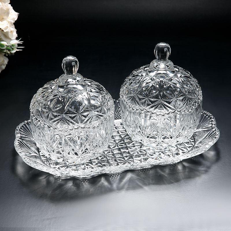 水晶玻璃欧式创意带盖托盘糖果盅