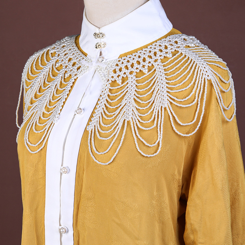 [pearl cloud shoulder] antique Necklace soft Yingluo tassel shoulder chain Hanfu shawl weaving opera Qipao accessories