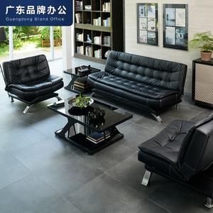办公沙发床三人位多功能折叠商务办公室沙发简约现代接待会客黑色