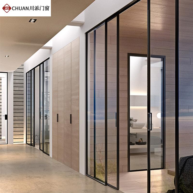成都玻璃门定制黑色推拉门定做欧式钛镁合金黑色格子细窄边框钢化