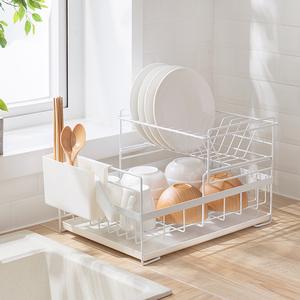 北欧时尚双层碗盘沥水架 厨房置物架 晾放餐具盒碗筷盘子收纳架