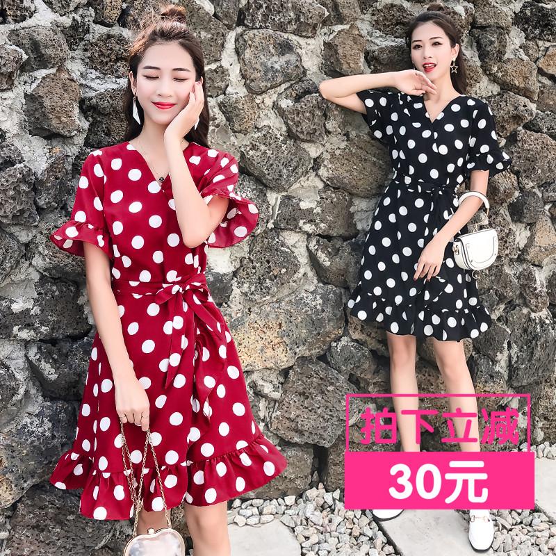 【直播间粉丝专享价】女装胖mm新款网红款洋气显瘦藏肉波点连衣裙