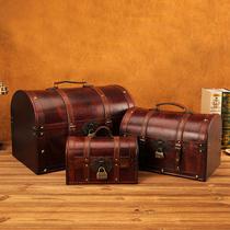 欧式复古收纳箱带锁木箱子大号家用玩具收藏整理箱储物箱百宝箱