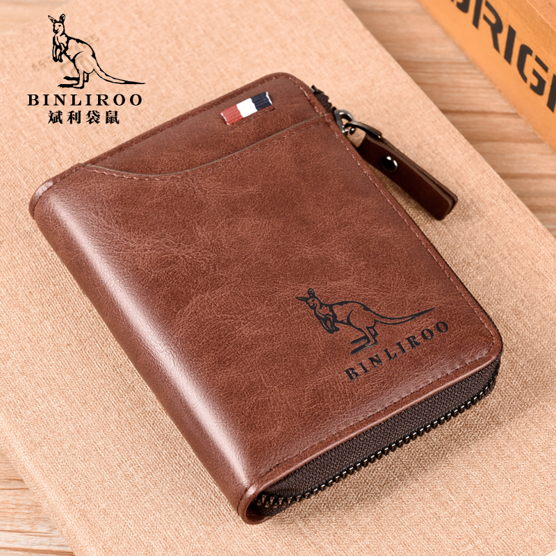 Mens wallet 2021 new leather short drivers license integrated card bag tide brand fashion multifunctional mens wallet