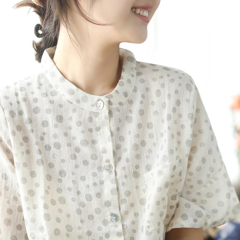 小耳出品清新圆点立领衬衫棉质提花宽松前短后长短袖贝壳扣女上衣