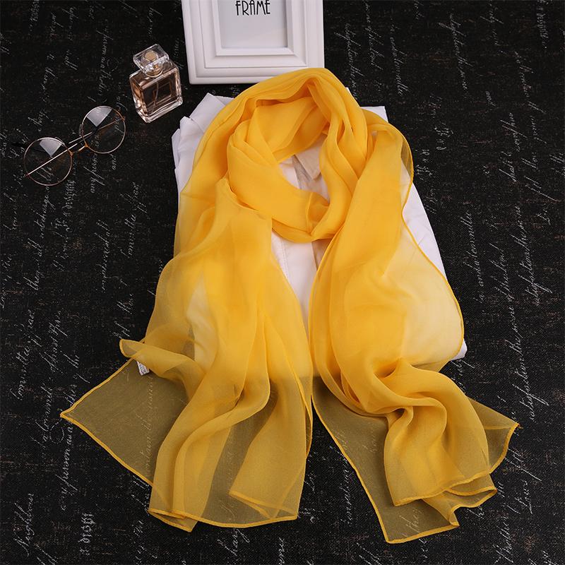 韩版百搭纯色真丝纱巾秋冬季长方形黑色丝巾女柠檬黄桑蚕丝薄围巾