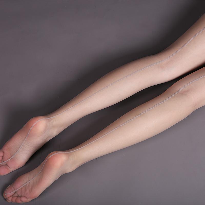 19.90元包邮欧美复古后竖线提花超薄脚尖连裤袜