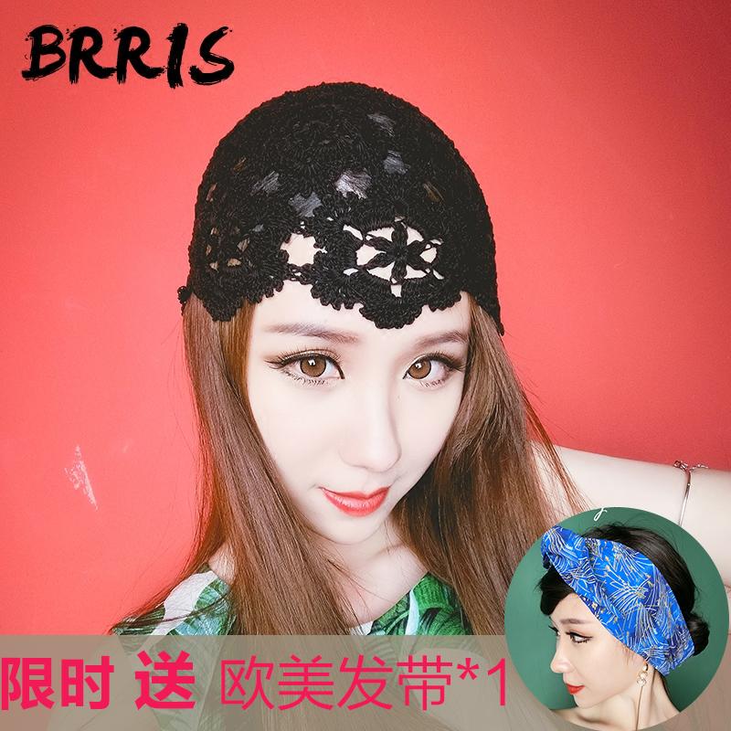 手工编织帽子女春季薄款针织帽镂空网红包头帽潮花朵蕾丝瓜皮帽