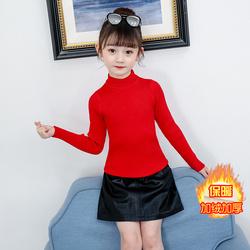 女童打底衫加绒加厚儿童红色毛衣2020年新款冬季半高领洋气小女孩