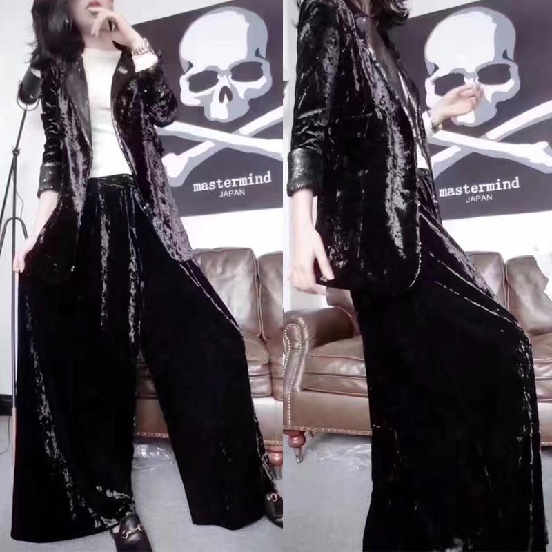 欧洲站2018秋季时尚套装金丝绒西服上衣大码阔腿裤女装两件套潮