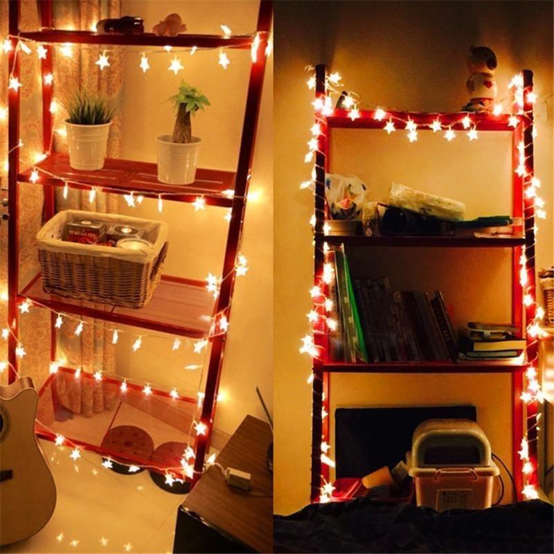 Christmas Garland Warm Light Star LED String Lighting Weddin
