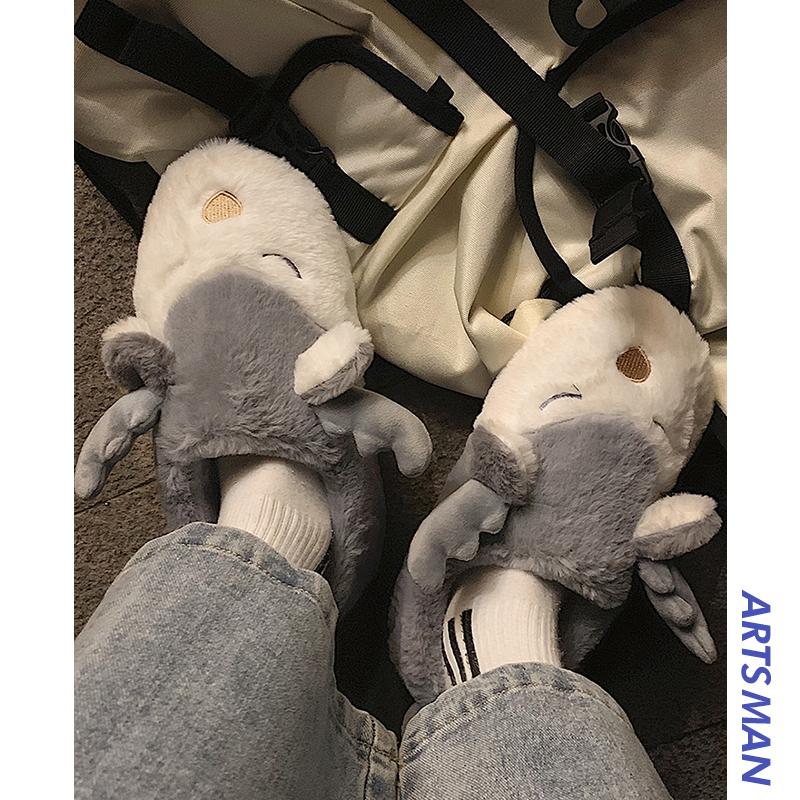 @港仔文艺男 冬季保暖棉拖鞋韩版潮流百搭舒适家居休闲毛绒棉鞋潮