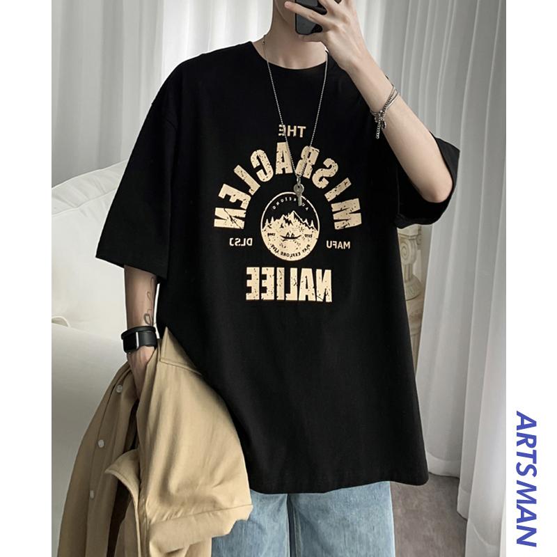 @港仔文艺男 简约字母印花黑色短袖T恤韩版宽松潮流五分袖上衣夏