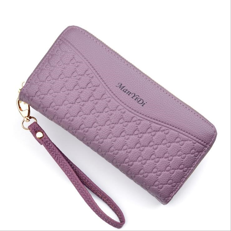 New wallet womens long mobile phone bag Korean fashion double zipper womens handbag multi Card Wallet