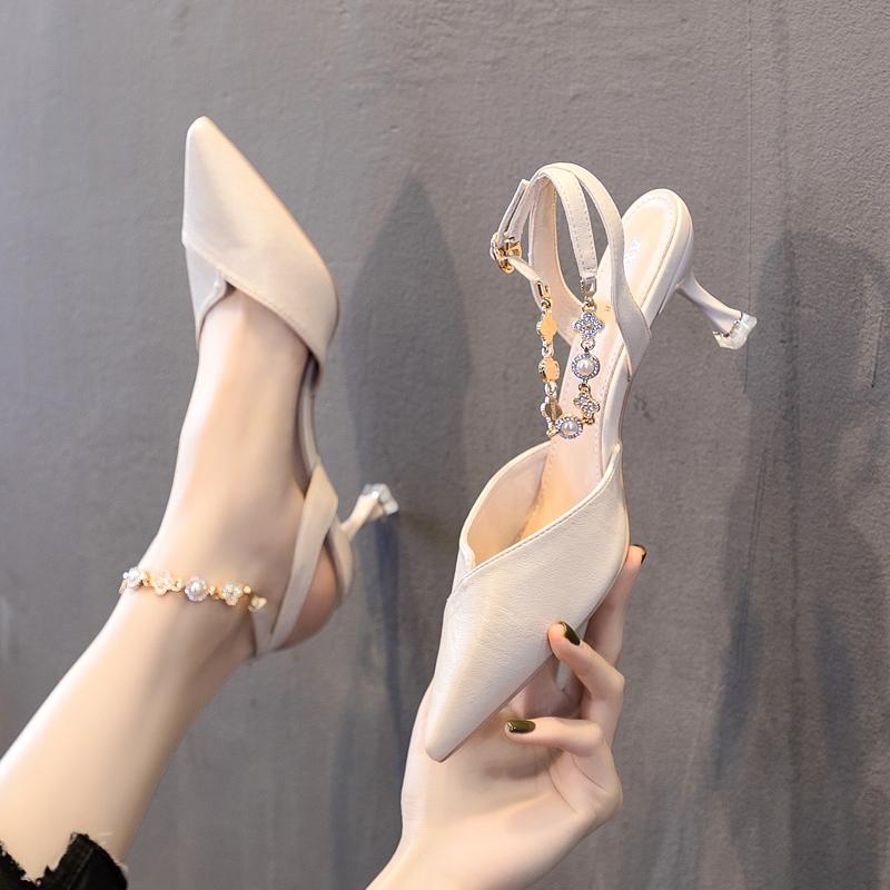 2020新款少女高跟鞋学生十八岁珍珠链一字带包头细跟仙女风凉鞋女