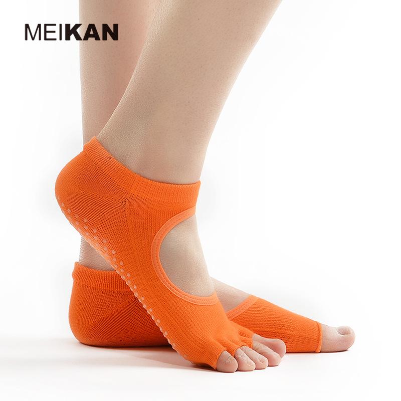 中國代購|中國批發-ibuy99|五指袜|meikan女士露趾露背五指瑜伽袜 薄款普拉提防滑地板袜子