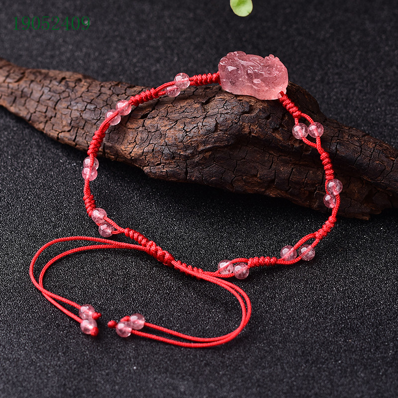 Package post natural strawberry crystal chain with strawberry crystal 4mm Round Bead womens summer foot chain red rope chain