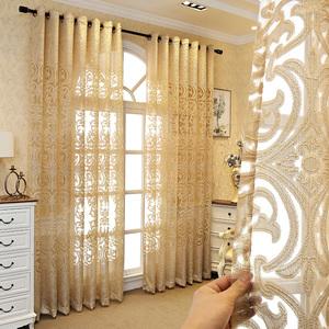 欧式奢华窗纱窗帘镂空半遮光透光隔断简约现代客厅卧室阳台落地窗