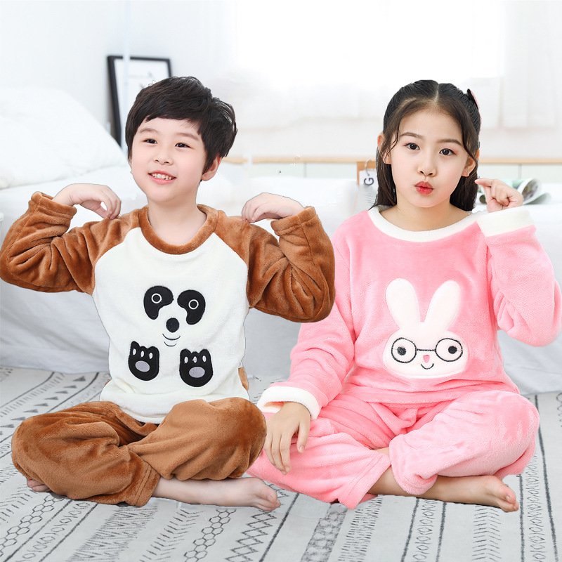 Autumn and winter childrens pajamas childrens wear solid color autumn and winter extra heavy suit for boys and girls autumn thick childrens home clothes