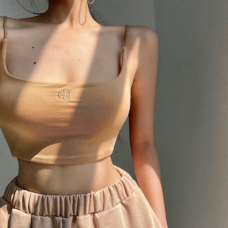 YoungGirlDay 欧美风字母刺绣细肩带性感紧身短款露脐吊带小背心