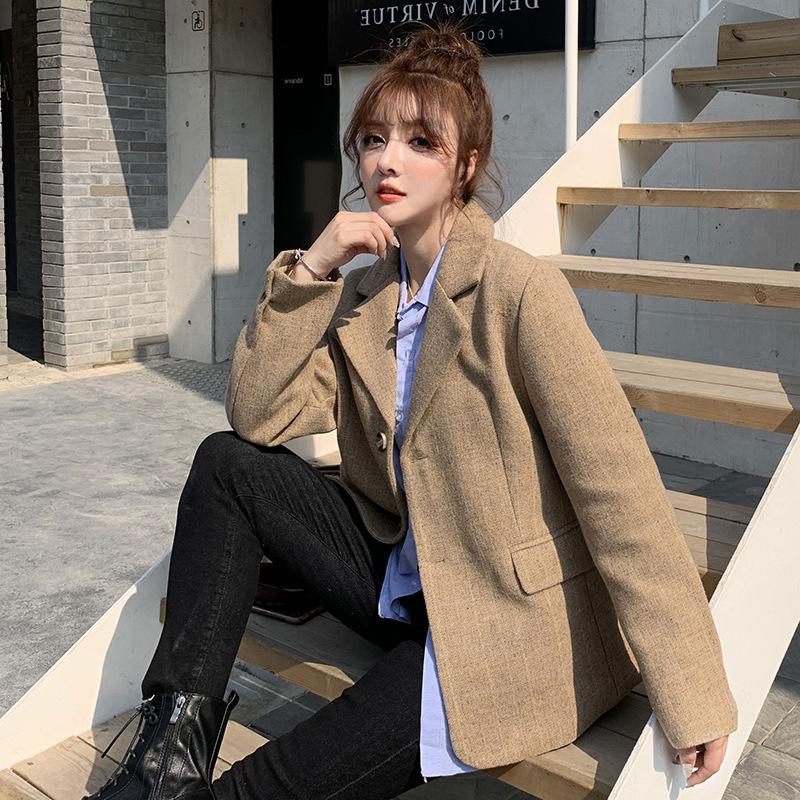厂家直销西装外套女2020冬季新款百搭合身羊毛呢料小西装女装