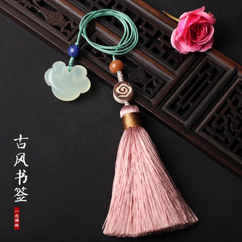 安静的莲文艺复古风书签古典中国风小礼品创意文具流苏书签定制