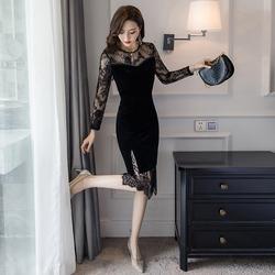 2019秋冬新款赫本风蕾丝拼接金丝绒连衣裙女中长款气质长袖小黑裙
