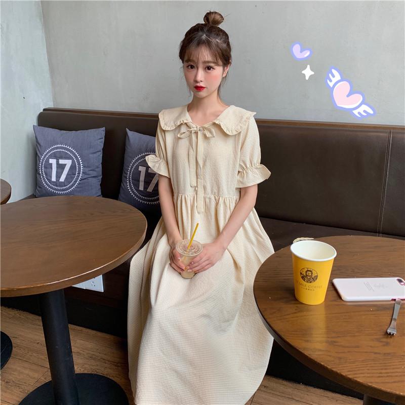 实拍 控5 蝴蝶结系带复古娃娃领格子长裙连衣裙