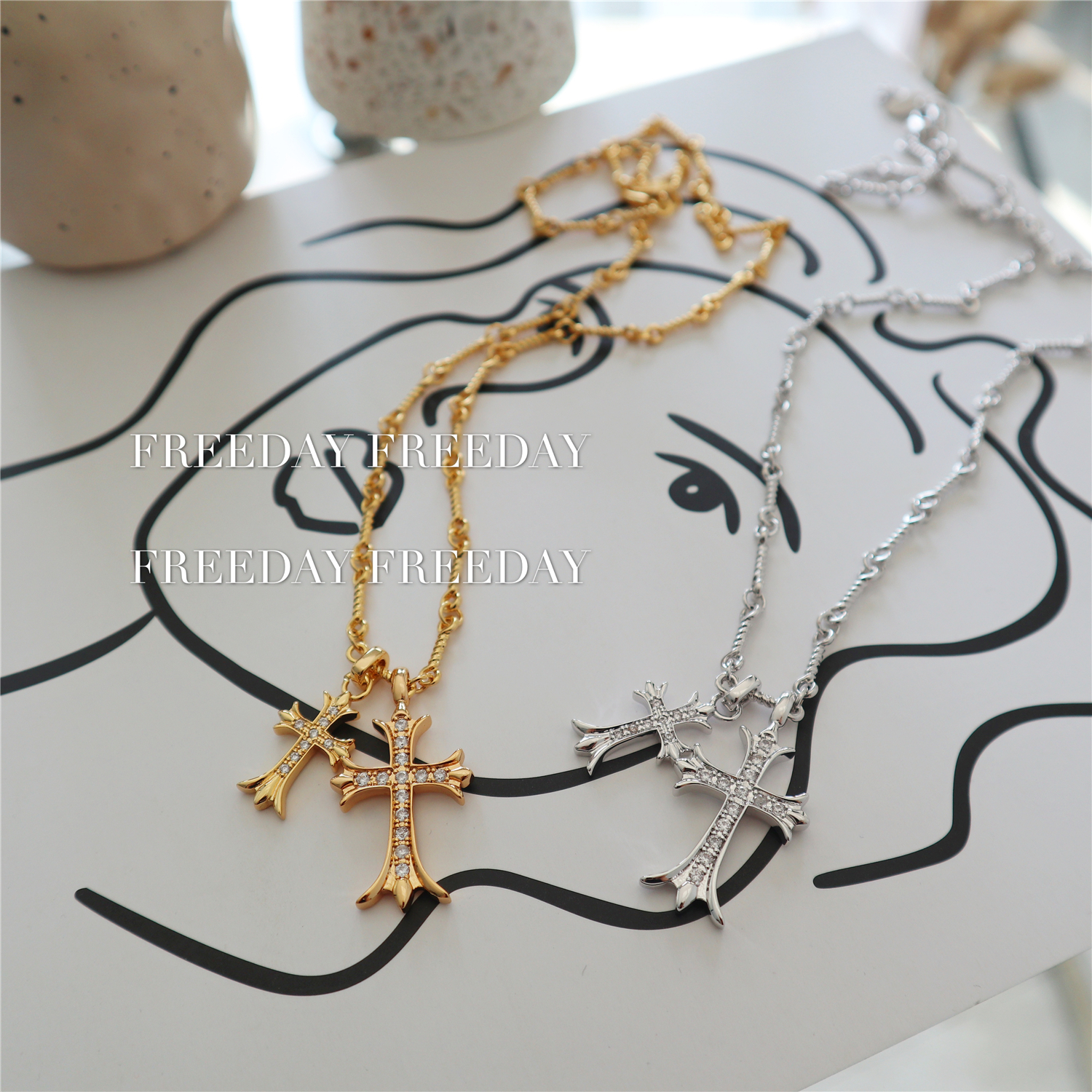 European and American new copper plated real gold ch crow Sydney same double cross flash diamond fashion brand Necklace sweater chain couple