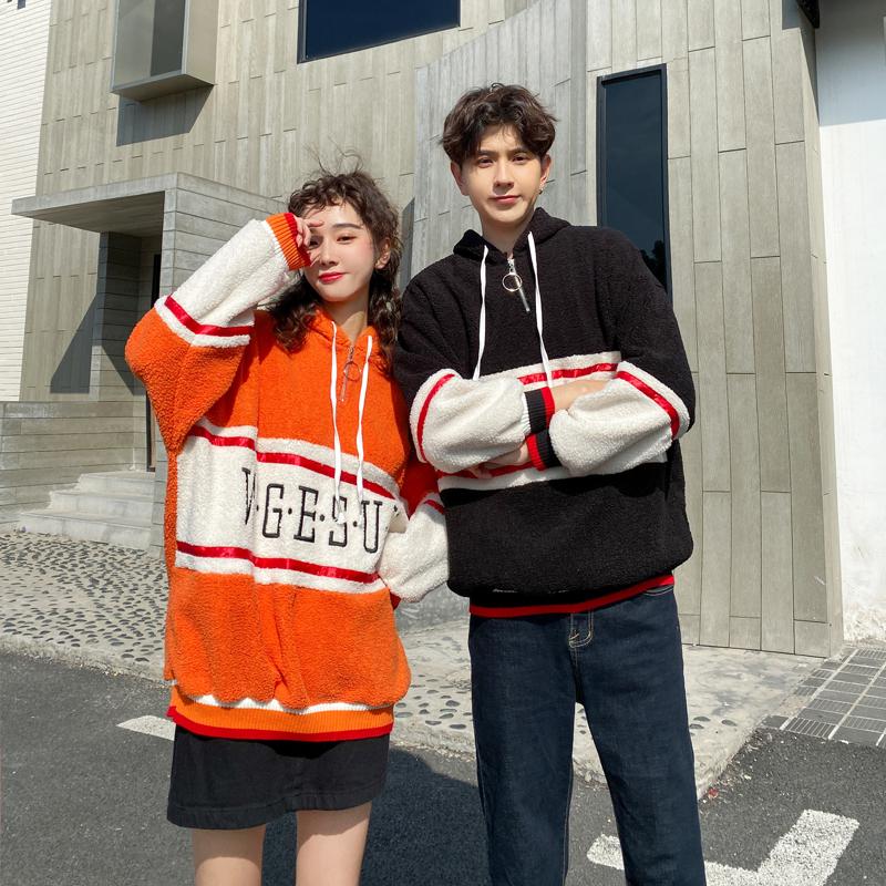 亚博娱乐平台入口情侣装冬装新款韩版INS刺绣拼接拉链羊羔绒卫衣女宽松学生潮