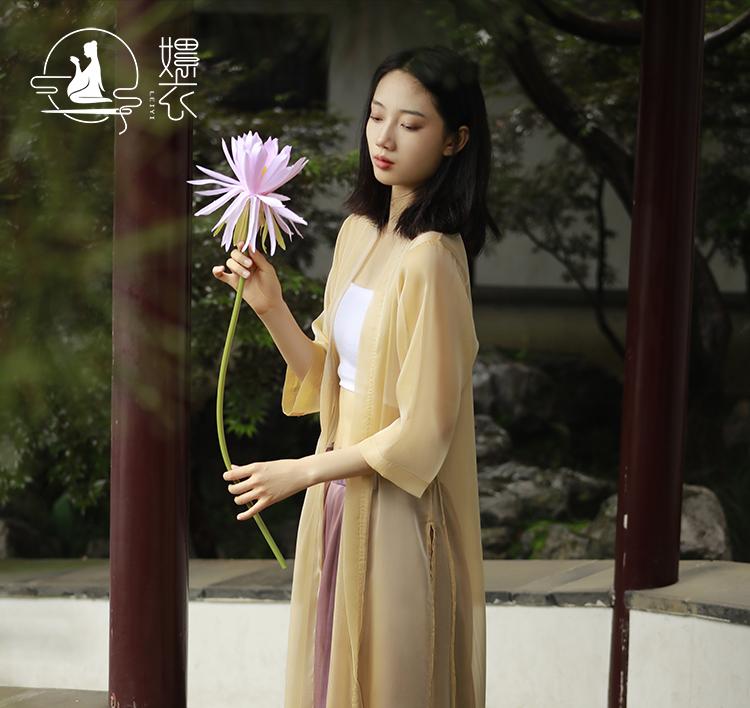 Leiyi soft national style womens wear high-grade Chiffon super Fairy Dance suit versatile medium length 7 / 4 sleeve ancient Zen tea suit