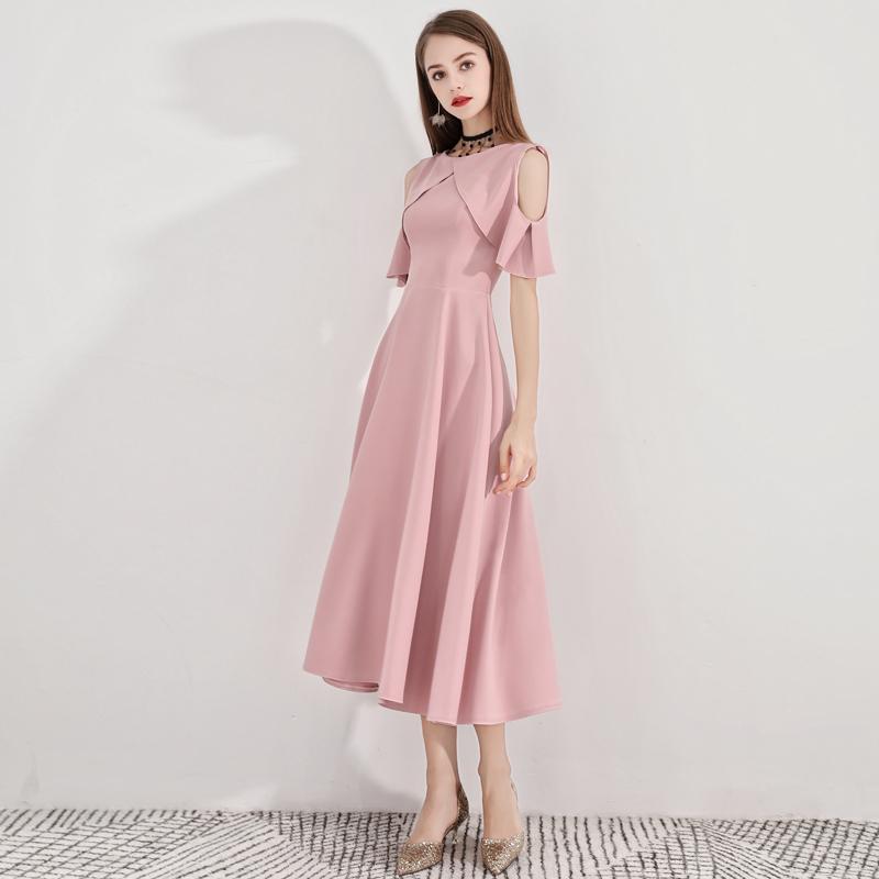 2019新款粉色小礼服修身a字连衣裙券后188.00元