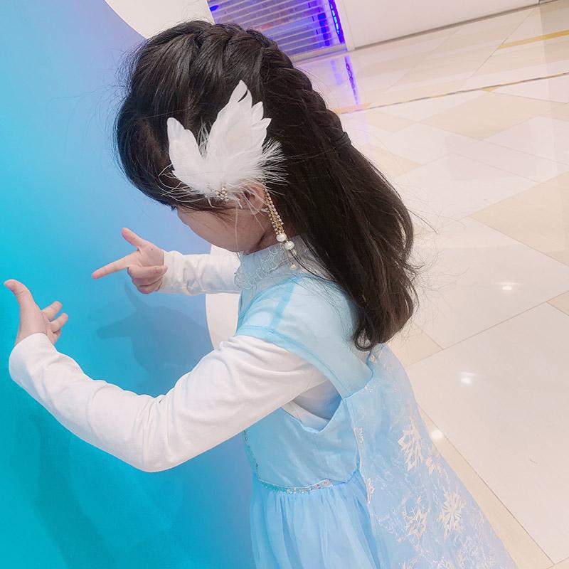 儿童耳环发夹式古风耳挂流苏女无耳洞女童耳夹挂耳耳饰羽毛超仙气