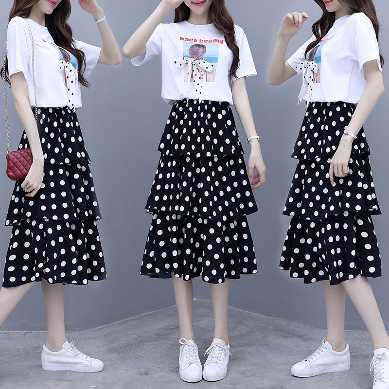 2020新款大码连衣裙夏季流行裙子女装波点a字裙套装裙短袖两件套