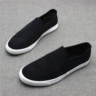 新款一脚蹬迷彩布透气男鞋乐福鞋潮流百搭低帮帆布鞋男士软底布鞋