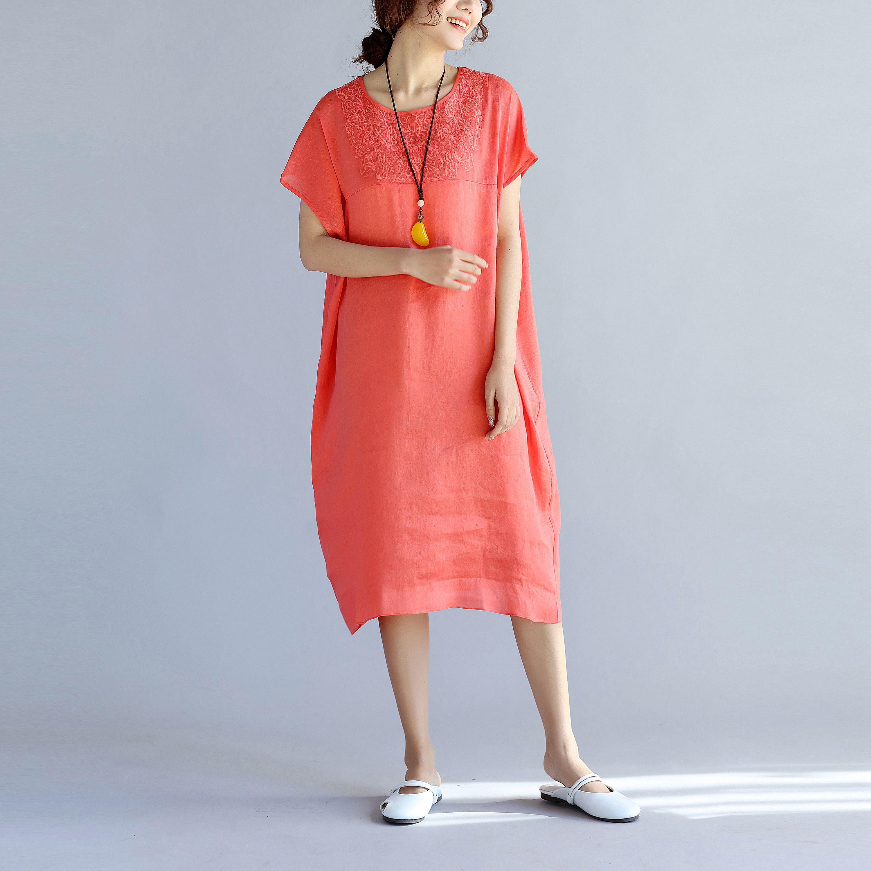 专桂品质 丝麻重工刺绣连衣裙圆领抹肩袖宽松有大码 特价清仓