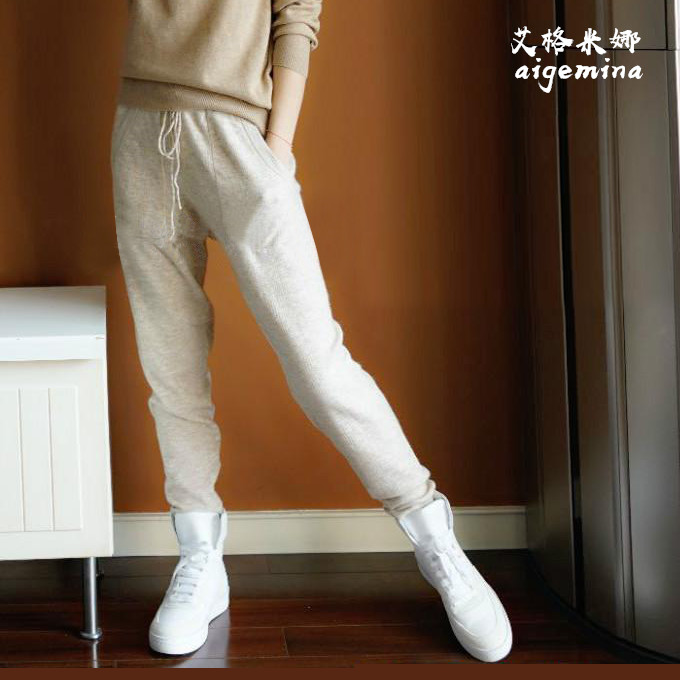 Foreign style shows thin, wear knitted cashmere leisure pants, sports wool pants, womens loose legged Harem Pants, pencil pants