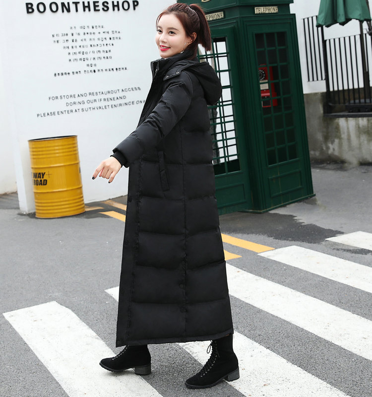 Winter new style white duck down super long down jacket womens long over the knee lengthening thickening slim waist to ankle