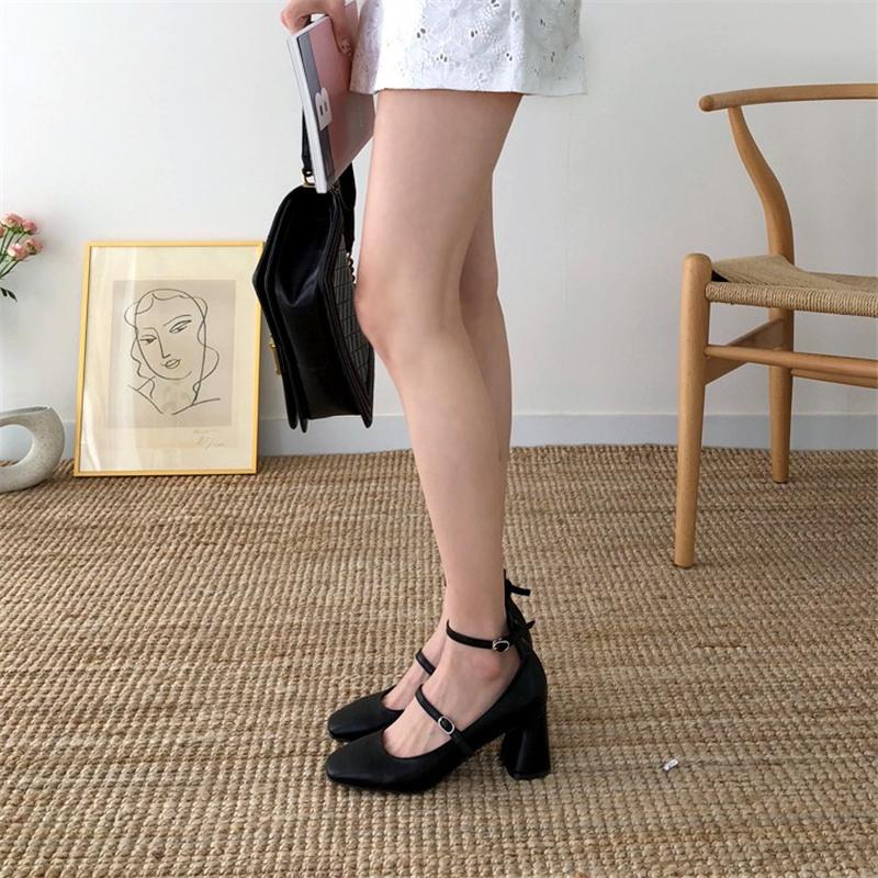 韩版2019新款浅口方头单鞋女粗跟复古玛丽珍鞋 一字扣仙女高跟鞋
