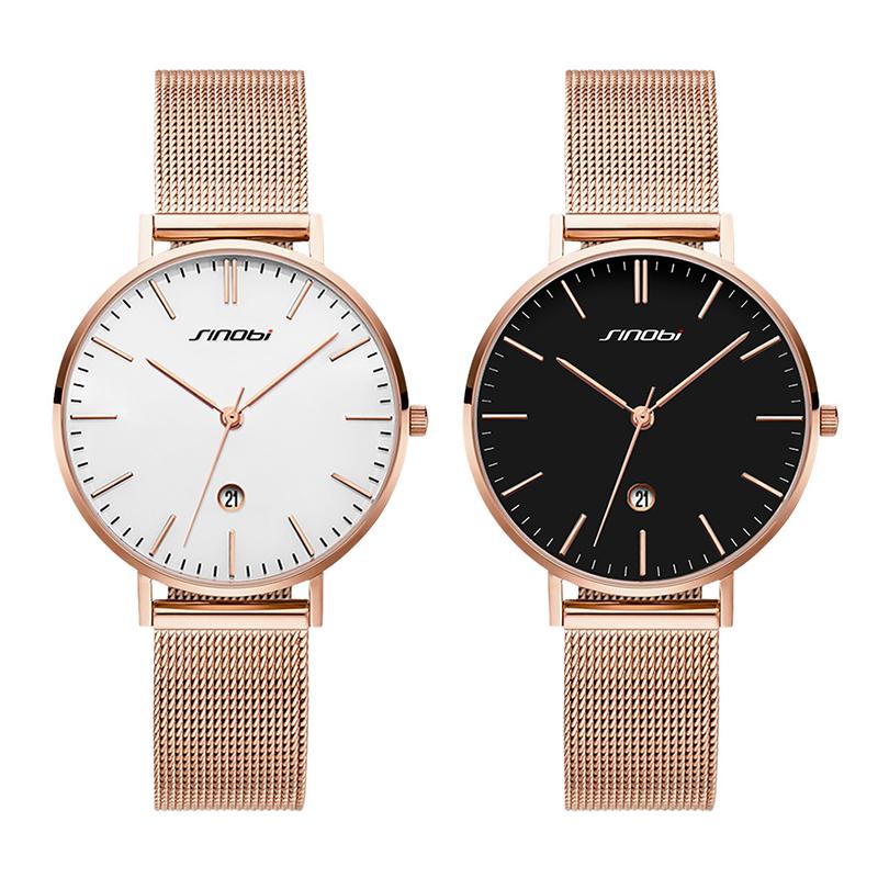 时诺比女士手表 石英网带超薄女表 防水镶钻时尚简约休闲情侣手表
