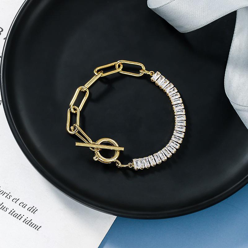 Small design chain splicing Zircon Bracelet New Zirconium diamond temperament Fashion Bracelet feminine fashion metal geometric Bracelet