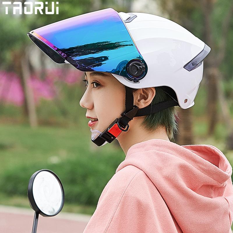 韬瑞夏日天电动摩托车头盔电瓶车轻便半覆式四季男女生安全防晒帽