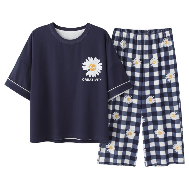 南极人小雏菊七分裤纯棉两件套套装