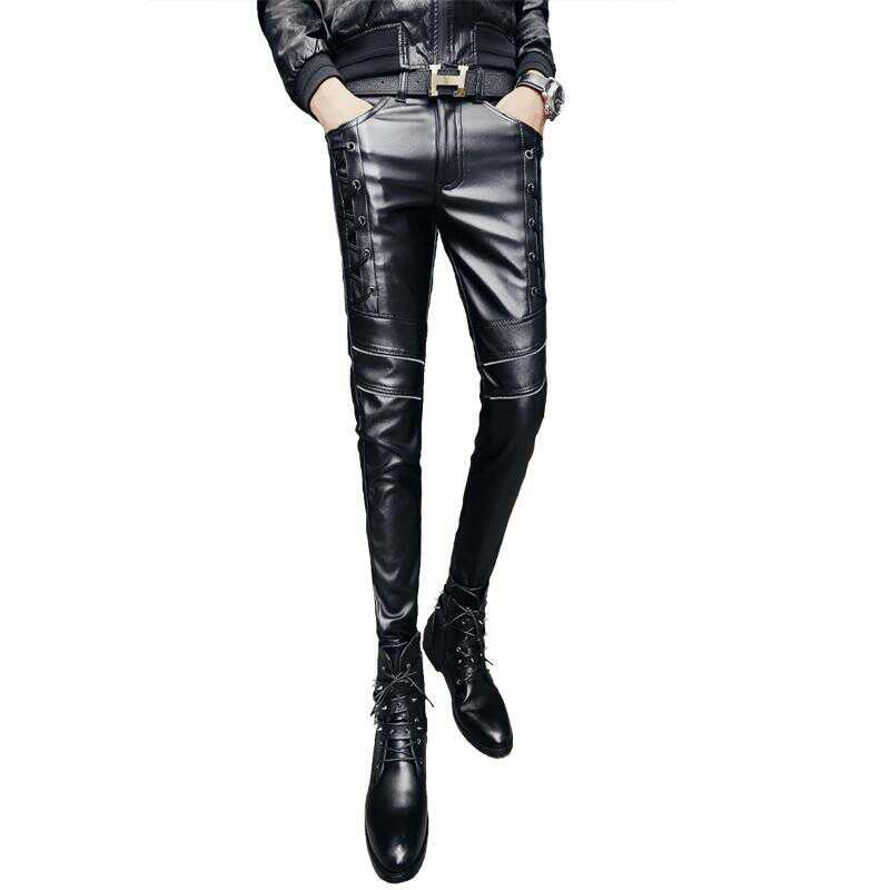 Торговый центр фасон унисекс Весна 18 новая коллекция мужской Кожаные штаны корейская версия приталенный Штаны для брюк эластичные волна