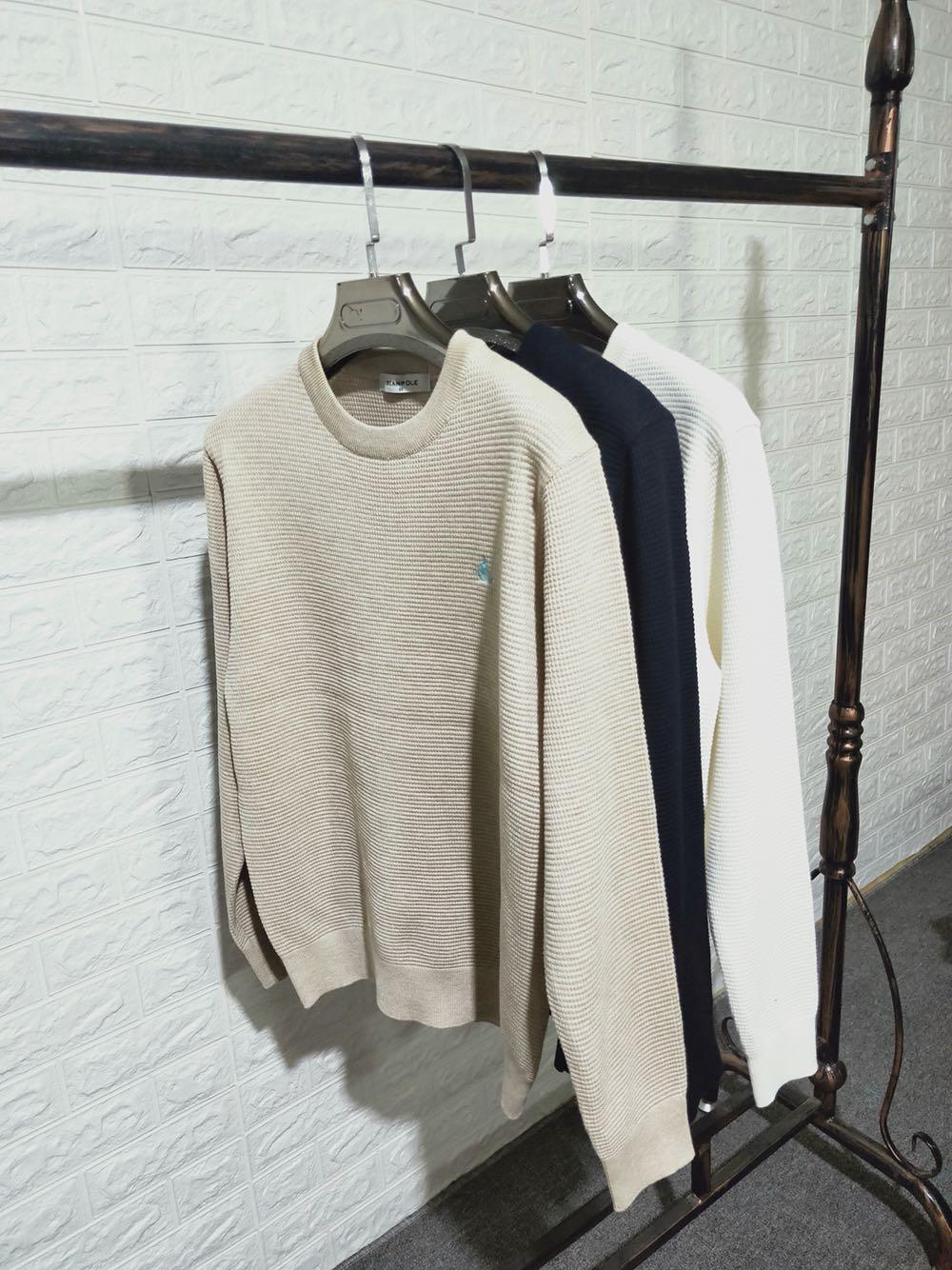 韩国圆领白色米白色进口羊毛2020新款男士纯毛休闲针织衫毛衣