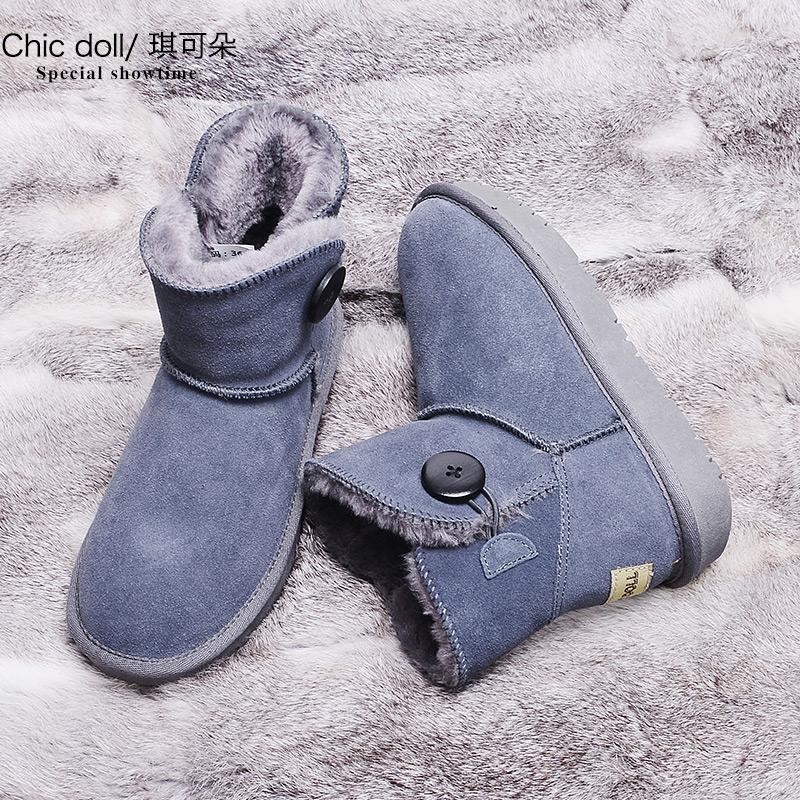 琪可朵新款雪地靴女短筒加绒短靴皮面冬季韩版百搭学生厚底