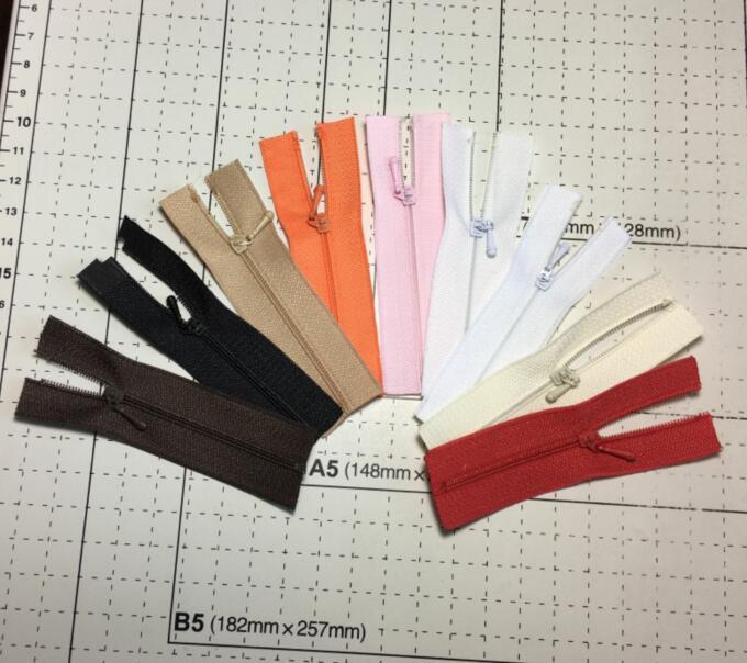 Full 18 yuan package, No.0 zipper, ultra-fine Mini zipper, BJD baby clothes, skirt, manual DIY material